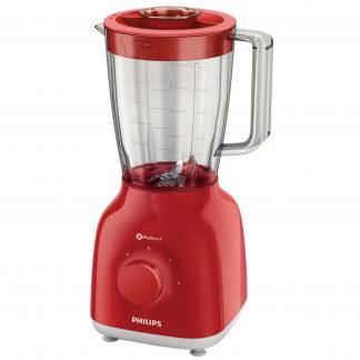 Blender Philips Daily Collection HR2100/50, 400 W, 1.25 l, 2 Viteze, Functie impuls, Rosu