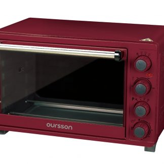 Cuptor electric Oursson MO3020/DC, 30L, 1500W, convectie, cos pentru gratar, rotisor, tava pizza, reglare temperatura 100 - 250°С, 12 moduri de gatire, timer 60 min, Visiniu