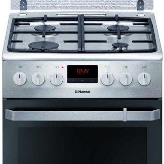 Aragaz Hansa FCMX59229, 4 arzatoare, plita gaz, gaz, cuptor electric, grill, rotisor, inox