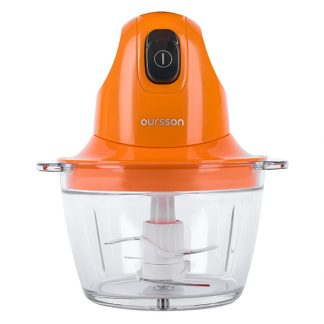 Tocator-chopper Ourrson CH3010/OR vas sticla, 800 ml, 4 lame din otel inoxidabil, Portocaliu
