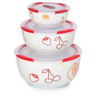 Set 3 boluri ceramice pentru salate Oursson BS2981RC/DC, 300/850/1700 ml, Visiniu