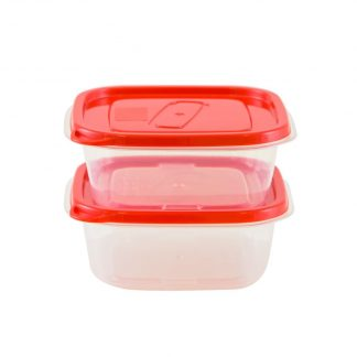 Set caserole Oursson CP1081S, plastic, 2 x 500 ml, Rosu