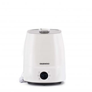 Umidificator ultrasonic Daewoo DH150, Functie ionizare, Rezervor apa 5,5 litri, Arie umidificare 30 mp, Filtru ceramic, Functie Nano Silver, LED, Abur cald si rece, Alb