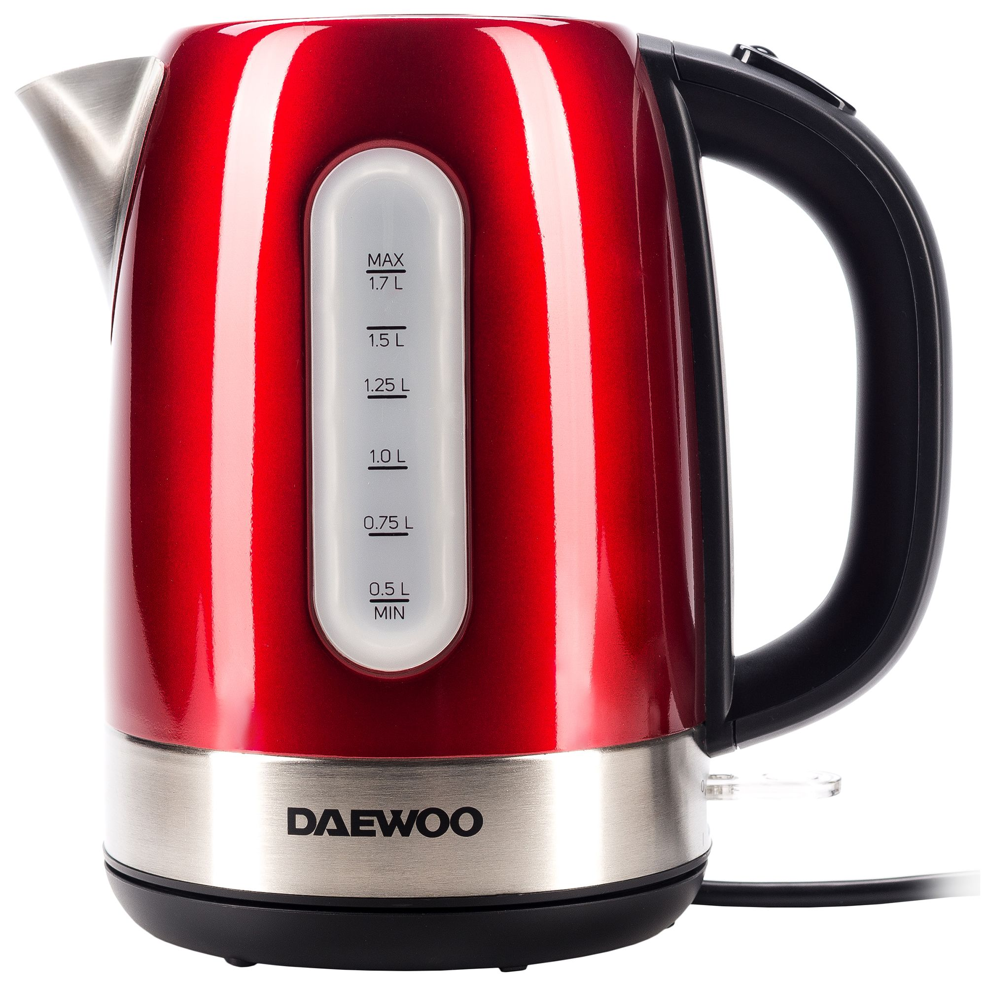 Fierbator apa Daewoo DK2400R, 2400 W, 1.7 l, indicator nivel apa, protectie supraincalzire, oprire automata, Rosu/Inox