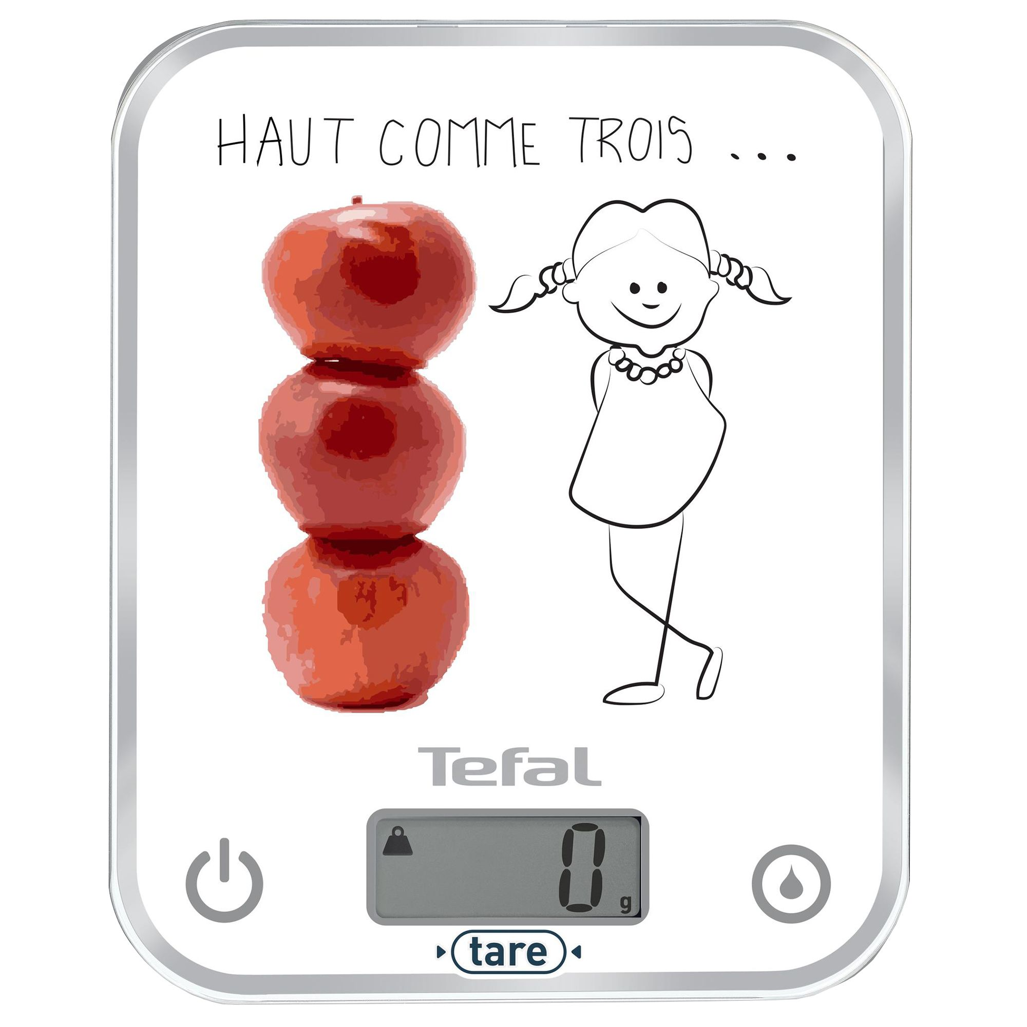 Cantar de bucatarie Tefal Optiss Decor BC5134V0, capacitate 5kg, 1g, tara, tip baterie AAA, Alb/Abstract