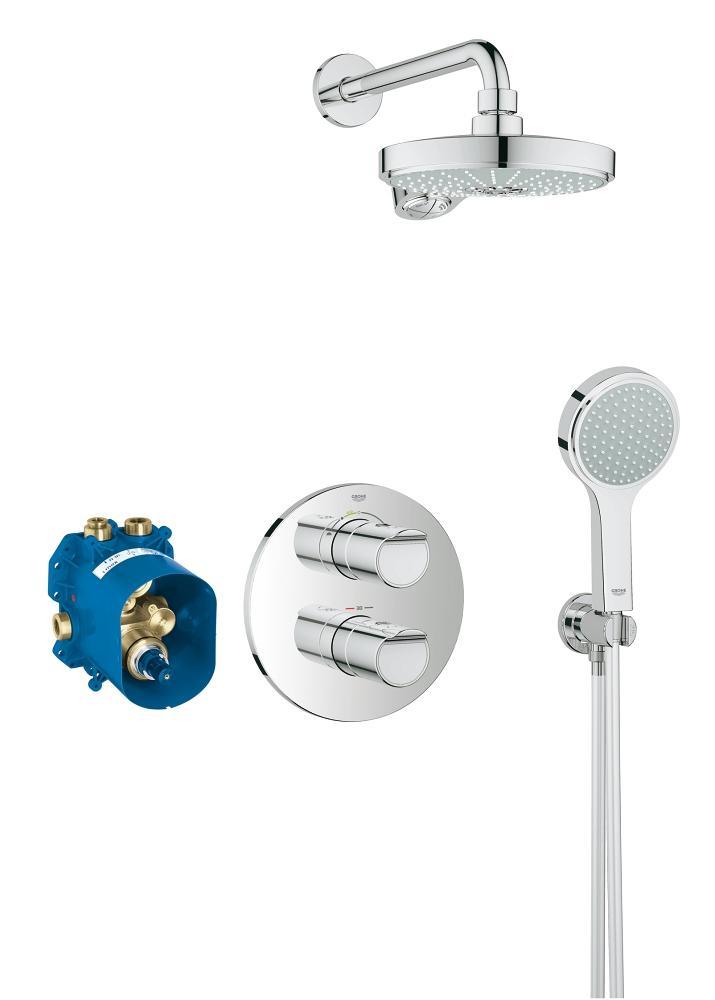 Sistem de dus cu termostat Grohe Grohtherm 2000 Power&Soul 190, incastrat, 2 functii, para dus inclusa, anti-calcar, crom