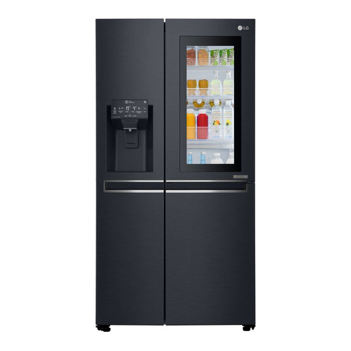 Side by side LG GSX960MTAZ, 601 L, A++, No Frost, InstaView, Door in Door, H 179 cm, Negru