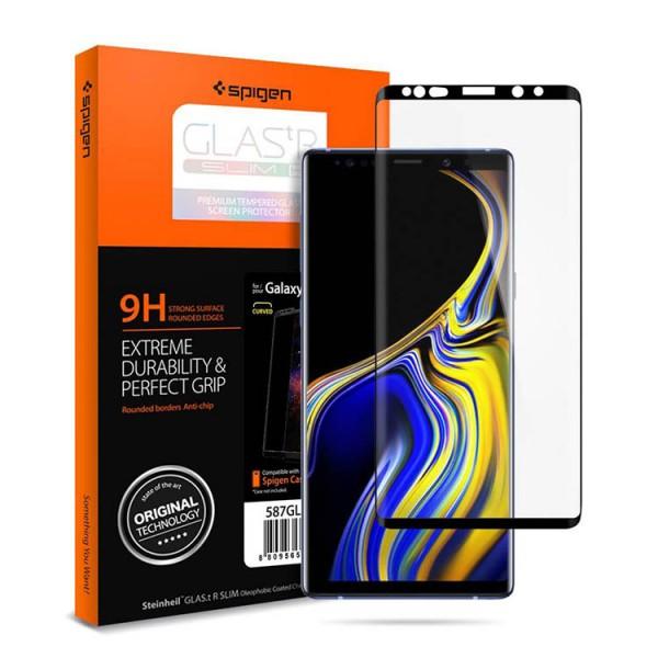 Folie Sticla Premium Spigen Samsung Note 9 Full Cover Curbata Negru