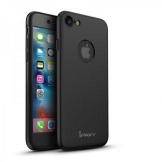 Husa Ipaky 360 Grade Ultra Slim iPhone 8 Negru Folie Sticla Inclusa