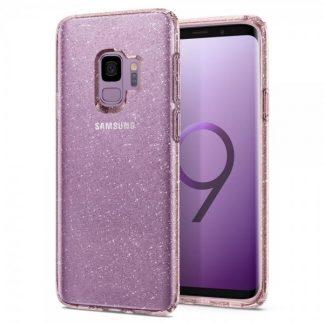 Husa Oirignala Premium Spigen Liquid Crystal Samsung S9 Glitter Rose Quartz