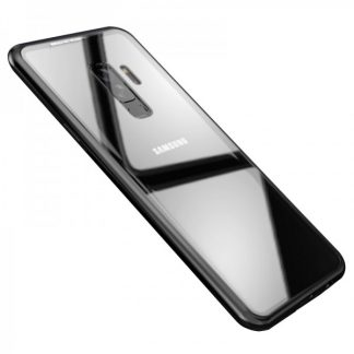 Husa Premium Magneto Glass Mixon Pro Samsung s9+ Plus Negru cu Spate Transparent