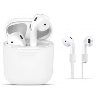 Husa Silicon Apple Airpods Cu Protectie Din Silicon Pentru Casti Alb