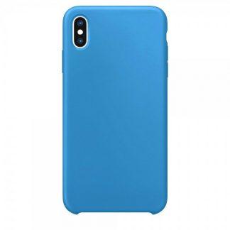 Husa Silicon Apple Style Fara Logo iPhone XS Max Interior Alcantara Blue