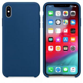 Husa Silicon Apple Style Fara Logo iPhone XS Max Interior Alcantara Dark Blue