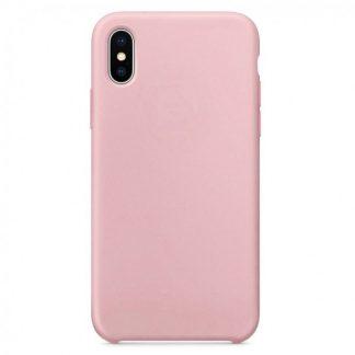 Husa Silicon Apple Style Fara Logo iPhone X/XS Interior Alcantara Pink