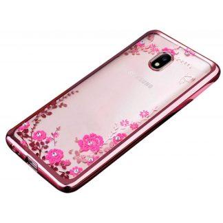 Husa Spate Flower Diamond Samsung J3 2017 Rose Gold Silicon