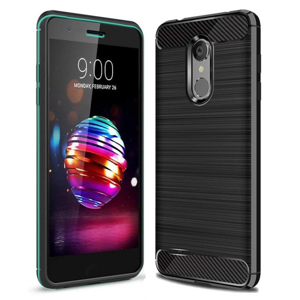 Husa Spate Forcell Carbon Pro Lg K10 2018, Negru Silicon