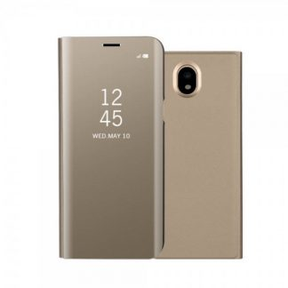 Husa Mirror Tip Carte Pentru Samsung Galaxy J3 2017 Gold