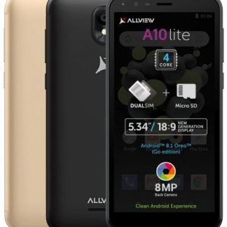 Telefon mobil Allview A10 Lite, Procesor Quad-Core 1.3 GHz, LCD Capacitive touchscreen 5.34inch, 1GB RAM, 8GB FLASH, 8MP, Wi-Fi, 3G, Dual Sim, Android (Negru)