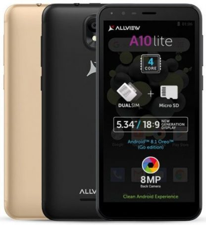 Telefon mobil Allview A10 Lite, Procesor Quad-Core 1.3 GHz, LCD Capacitive touchscreen 5.34inch, 1GB RAM, 8GB FLASH, 8MP, Wi-Fi, 3G, Dual Sim, Android (Negru)