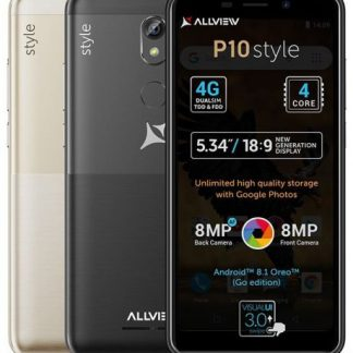 Smartphone Allview P10 Style, Procesor Quad-core, 1.5GHz, LCD Capacitive touchscreen 5.34inch, 1GB RAM, 8GB FLASH, Camera 8MP, Wi-Fi, 4G, Dual Sim, Android (Negru)