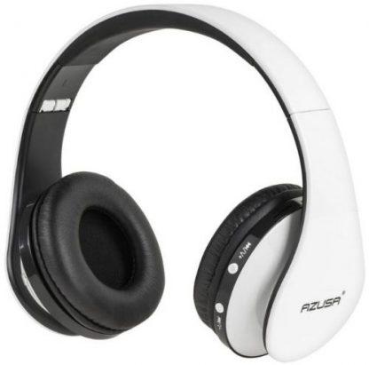 Casti Stereo Azusa SLU0056, Bluetooth, Radio FM, Cititor de carduri (Alb)