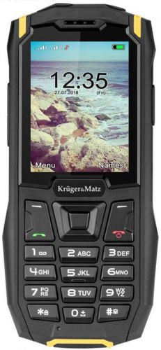 Telefon Mobil Kruger&Matz Iron 2, Ecran QVGA 2.4inch, 32MB RAM, 32MB Flash, 0.3MP, 3G, Dual Sim (Negru/Galben)
