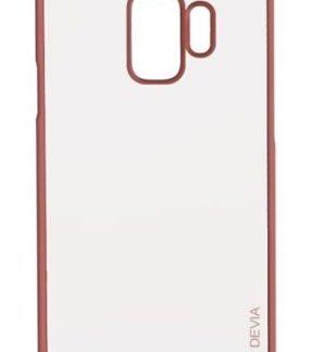 Protectie Spate Devia Glitter Soft DVGLTSFG960RG pentru Samsung Galaxy S9 G960 (Transparent / Roz/Auriu)