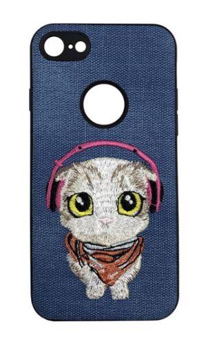 Protectie Spate Lemontti Embroidery Blue Puppy LECIPH7M1 pentru iPhone 7 (Albastru)