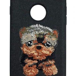 Protectie Spate Lemontti Embroidery Black Puppy LECIPH7M4 pentru iPhone 7 (Negru)
