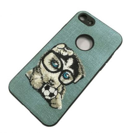 Protectie Spate Lemontti Embroidery Gray Puppy LECIPH7M7 pentru iPhone 7 (Gri)