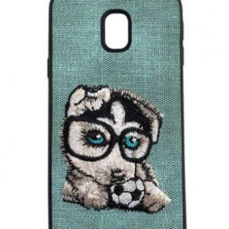 Protectie Spate Lemontti Embroidery Gray Puppy LECJ530M7 pentru Samsung Galaxy J5 2017 (Gri)