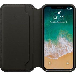 Husa Protectie Leather Folio Apple MQRV2ZM/A pentru Apple Iphone X (Negru)