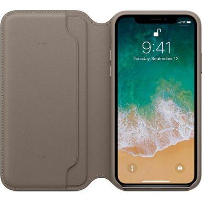 Husa Protectie Leather Folio Apple MQRY2ZM/A pentru Apple Iphone X (Gri Taupe)