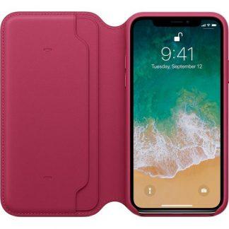 Husa Protectie Leather Folio Apple MQRX2ZM/A pentru Apple Iphone X (Rosu Berry)