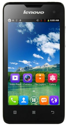 Telefon Mobil Lenovo A396, Procesor Quad-Core 1.2 GHz, Capacitive touchscreen 4inch, 256GB RAM, 512MB Flash, 2MP, 3G, Wi-Fi, Dual Sim, Android (Negru)