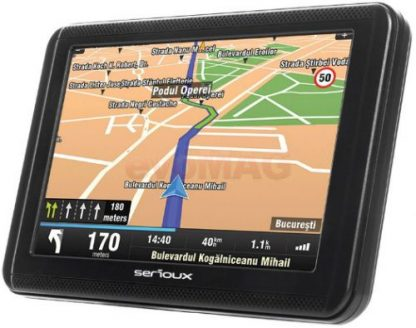 "Sistem de navigatie Serioux Urban Pilot UPQ500FE, TFT 5"", Procesor 800 MHz, 256MB RAM, 8GB Flash, Microsoft Windows CE 6.0, Actualizari pe viata a hartilor, Harta Full Europa"