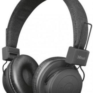 Casti Stereo Trust Leva, Bluetooth, Microfon (Negru)