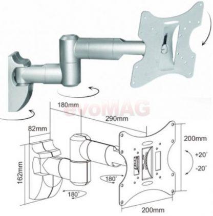Suport Perete Cabletech UCH0043S, 10inch - 30inch, 30kg (Argintiu)
