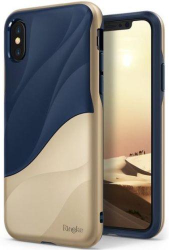 Protectie Spate Ringke Wave, 8809550346505 pentru Apple iPhone X (Albastru/Auriu)