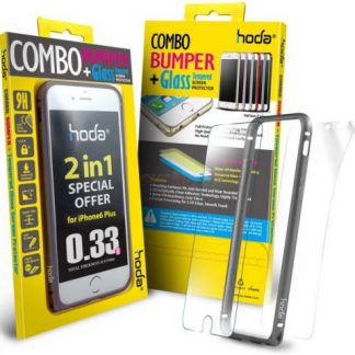 Bumper Hoda Taiwan GBO-IP6P-GY, folie de sticla fata+folie spate, pentru iPhone 6 Plus/6s Plus (Gri)