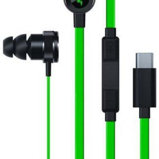 Casti Gaming Razer Hammerhead, USB-C (Negru/Verde)