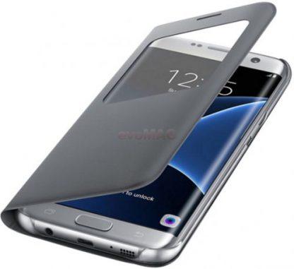 Husa S-View cover Samsung EF-CG935 pentru Samsung Galaxy S7 Edge (Argintiu)