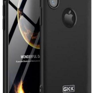 Protectie Spate GKK 360 Logo Cut pentru Apple iPhone X (Negru/Auriu) + folie protectie ecran