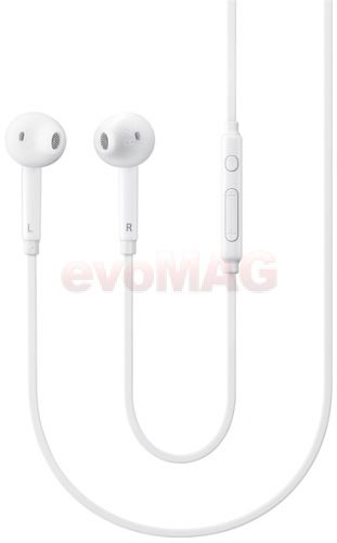 Casti cu microfon Samsung EO-EG920, Comanda cu 3 taste, Jack 3.5mm, bulk, cutie negru/transparent (Alb)