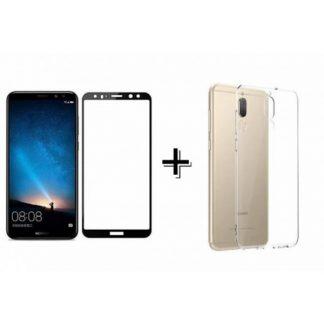 Set Husa Ultra Slim Transparenta Si Folie Sticla 3d Negru Mixon Pro Huawei Mate 10 Lite